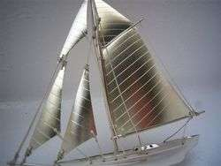 MASTERLY H CRAFTED OLD JAPANESE STERLING SILVER MODEL YACHT SHIP NO