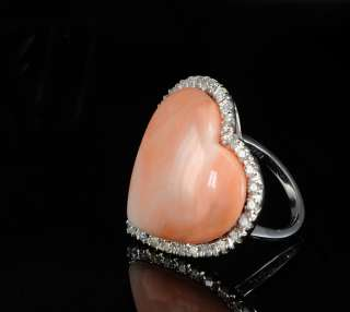 HIGH CLASS CORAL HEART & DIAMOND HUGE VINTAGE RING   FREE EU P&P
