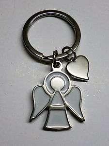 Schlüsselanhänger Engel mit Herz Angel weiß lackiert Schutzengel