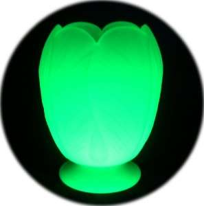 VINTAGE DECO ENGLISH BAGLEY URANIUM GLASS TULIP LAMP