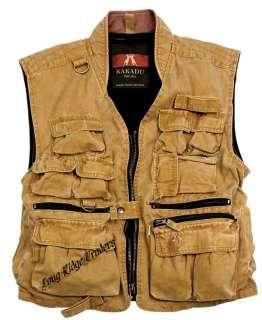 Kakadu Delta Vest Multi Pocket Canvas Mustard hunting, fishing, hiking