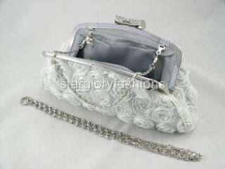 Pale Bean Green Roses Wedding Purse Clutch Lot Crystal CEL 025122