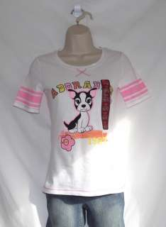 SO Girls Pink & White Adorable Kitten Novelty Jersey T shirt   Sizes M