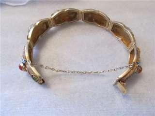 Vintage Chinese Carnelian Cabochons Gold Filigree Bracelet