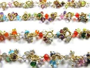 MM Multi Gems Base Metal Vermeil Gem Stone Link Chain