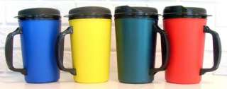 oz Blue, Yellow, Green, Red Thermo Serv Insulated Travel Mugs