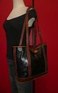 Vintage BRAHMIN Black Leather Croco LARGE Tote Satchel Purse Bag