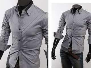 NWT Mens Casual Slim fit Stylish Dress Shirt M L XL XXL Gray White