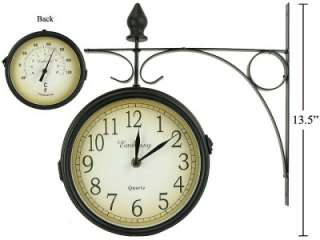 Outdoor Train Station Style Clock, Time on one side, Temp. on the