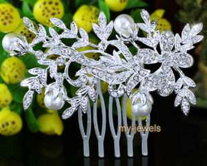 Bridal Wedding Flower Crystal White Faux Pearl Hair Comb T1339