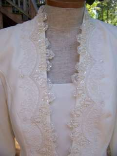 CACHET SIZE 8 IVORY WEDDING MOTHER BRIDE BEADS/PEARLS JACKET DRESS 8