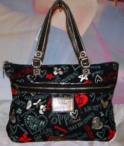 COACH POPPY Graffiti Heart GLAM TOTE Bag 16052 GUC Black/Red Authentic