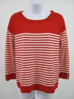 CARDIGAN Red White Stripe Long Sleeve Shirt Top Sz M