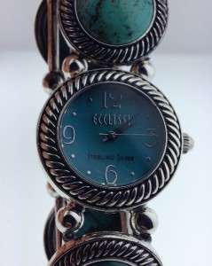ECCLISSI STERLING SILVER AND TURQUOISE BEADED STRETCH BRACELET WATCH