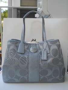 NEW AUTH Coach Grey Signature Stripe Framed Kisslock Carryall Handbag