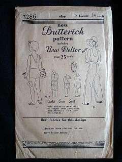 Vintage Pattern Butterick #3286 Girls' Sun Suit 1930S