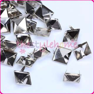 Square Pyramid Studs Spots Punk Rock Spike Studs Leathercraft silver