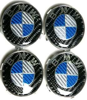 BMW blue FULL REAL CARBON FIBER WHEEL CENTER CAPS + HOOD TRUNK EMBLEM