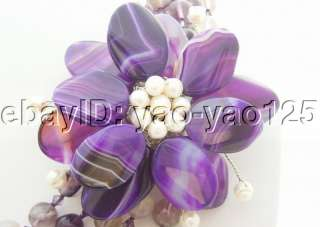 Stunning Purple Fluorite&Agate Flower&Crystal Necklace
