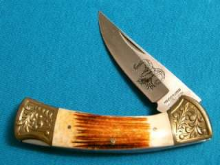 PARKER IMAI K116 STAG BIG HORN SHEEP ETCH FOLDING HUNTER BOWIE KNIFE