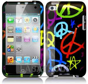 POD TOUCH 4 COLORFUL PEACE SIGN HARD CASE+SCREEN