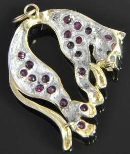 14K Gold 1.60 CT Natural Ruby Diamond Hanging Cat Kitten Slide Pendant