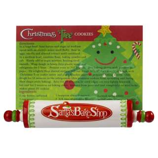 Grasslands Road Christmas Tree Cookies Rolling Pin Recipe Card Holder