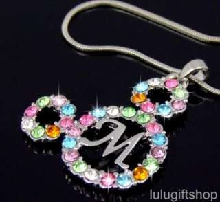 DISNEY MICKEY MOUSE HEAD NECKLACE USE SWAROVSKI CRYSTAL