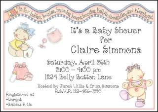 Personalized BELLY BUTTON BABY SHOWER Invitations