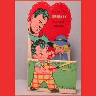 1940 Vintage Valentine Card EARLY SUPERMAN INC Rare DC COMICS