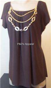New American City Wear Womens Plus Size Clothing 1X 2X 3X Brown Shirt