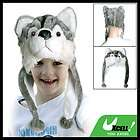 Children Cartoon Animal Wolf Plush Hat Cap Green White