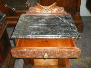 ANTIQUE ITALIAN MARBLE TOP WALNUT NIGHT STANDS #11IT108C |
