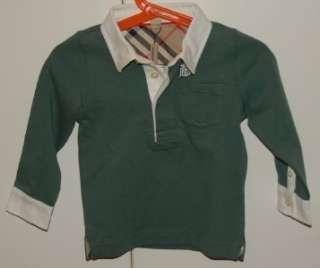 NWT Burberry Baby Boy Infant Green Long Sleeve Polo Shirt 18m / 85cm