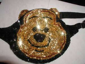 GLITZY SEQUIN POOH BEAR FANNYPACK PURSE TEDDY BEARS NEW