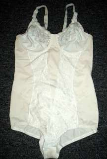 FLEXEES White Lace & Satin BODY SUIT Body Shaper SIZE 36B