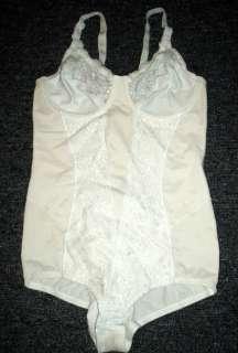 FLEXEES White Lace & Satin BODY SUIT Body Shaper SIZE 36B