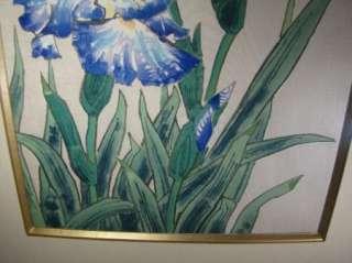 Original Framed Ukiyo e Woodblock Print Blue Iris