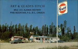 MOUNTAIN BC Art & Gladys Fitch GULF GAS PUMPS STATION Old PC