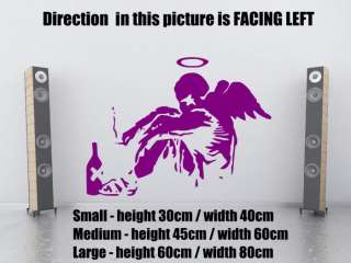 Ƹ̵̡Ӝ̵̨̄Ʒ Banksy Style Fallen Angel Art Wall Stickers
