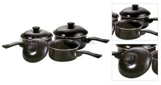 6PC NON STICK COOKWARE SET SAUCEPAN PAN POT SET BLACK BELLY SHAPED