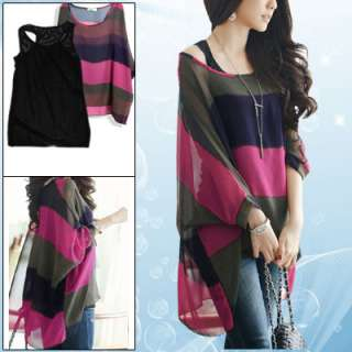 Boat Neck High Low Hem Chiffon Shirt w Black Tank Top for Ladies