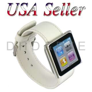 NEW White Leather Watch Band for Apple iPod Nano 6 USA