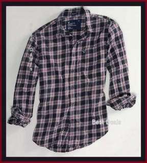 Eagle AE Mens Athletic Fit BLACK PLAID Shirt New FREE FAST SHIPPING