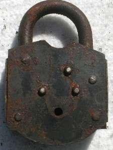 Cast Iron 7/A 7th Cavalry Civil War Padlock Lock Keys