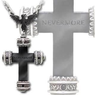 Alchemy Gothic Pendant NEVERMORE CROSS Edgar Poe P539