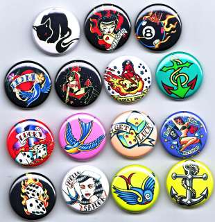 RETRO TATTOO 1 Badges x15  rockabilly kitsch punk emo roller