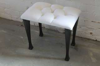 Dressing Table Stool in a White Dralon Buttoned Top
