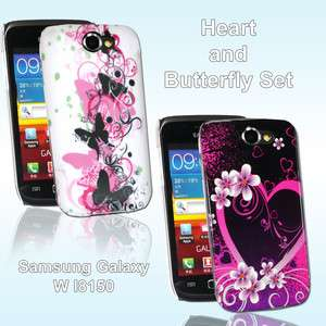 COVER FOR SAMSUNG GALAXY W i8150 HEART and BUTTERFLY SET FITS GALAXY W