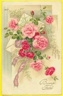 CPA LETTRE avec ROSES et RUBAN  BONNE FÊTE  MAIL with FLOWERS